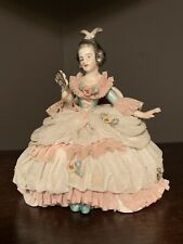 DRESDEN Figurine Lady With Lace Sitting In Chair With Fan
