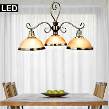 LED Decken Lampe altmessing Luster amber Hänge Leuchte Glas Pendel Landhaus Stil