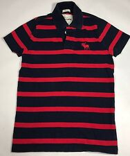 Abercrombie & Fitch Kids Muscle Polo Shirt Red & Navy Stripe Short Sleeve Large