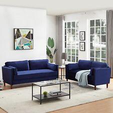 2 Piece Living Room Sofa Set  Sofa Bed Sleeper Long Couch & Loveseat Blue Velvet