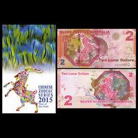 Silver Reserve Australia 2 Lunar Dollars, 2015, in folder, UNC>Goat  Moon