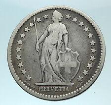 1878 SWITZERLAND - SILVER 2 Francs Coin HELVETIA Symbolizes SWISS Nation i78832