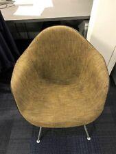 Herman Miller Eames Arm Chair, H-Bottom Fiberglass, Rare Brown Fabric, Genuine