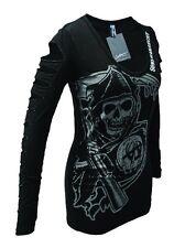Sons of Anarchy Reaper Long Sleeve Laser Cut Juniors Black T-Shirt | XL