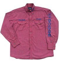 Men's Wrangler Dodge Red Plaid Button Down Shirt Medium Chevrolet Car Embroidery