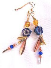 EARRINGS Blue Long Tall Dangle Drop Flower Gold Dangle Drop Artisan Handmade USA