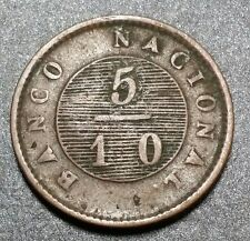 1828 ARGENTINA BUENOS AIRES 5/10 REAL AU Very Rare High Value Coin