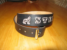 Custom Made Genuine Leather Belt Black & Name And Howling Wolf 1 1/2'' Width