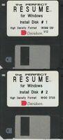 """ITHistory (1991) IBM Software: PERFECT RESUME V1.0 (Davidson)  2X3.5"""" No Manual"""