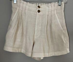 American Eagle Paper Bag Linen Blend Shorts Size 6