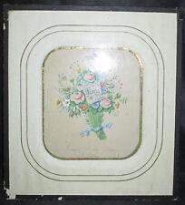 ancienne aquarelle souvenir à mon frère Nicolas signé Maria 1854 XIX ème
