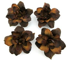 """Four 2.5"""" Variegated Brown Apple Blossom Silk Flower Hair Clip Lot Pin Up Updo"""