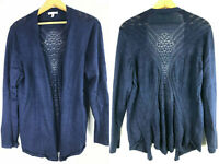 Maurices 2X Cardigan Sweater Navy Blue Knit Crochet Cut Out Back Open Front cx