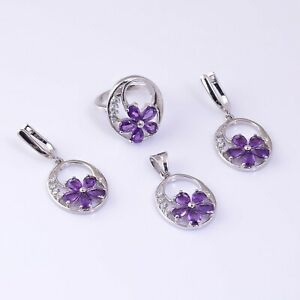 Natural Amethyst Pear Gemstone 925 Sterling Silver Women Wedding Jewelry Set