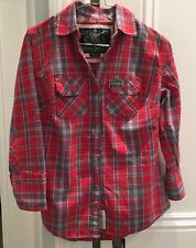 Superdry Women's Plaid 3/4 Sleeve Button Down Shirt - Red/Gray/White, Size S