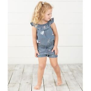 Mud Pie E8 Baby Girl Sail Away Washed Denim Romper 1132399 Choose Size