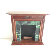 1/12 Vintage Dollhouse Living Room Furniture Green Marble Fireplace Mantle