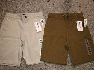 NWT Lot of 2 Pair Old Navy Khaki Tan Youth Shorts Built-In Flex Boy's Size 12