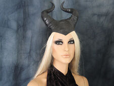 MALEFICENT HORN HOOD MASK (S) Latex Maske Halloween Haube Hörner Wicca Fantasy