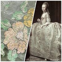 SALE Designer Brocade Satin Fabric- Mint Green Pink Yellow Floral - Damask