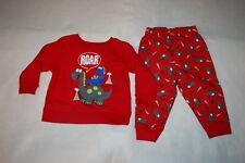 "Baby Boys Outfit Red Sweatshirt & Sweat Pants Cute Dinosaurs ""Roar"" Size 6-9 Mo"