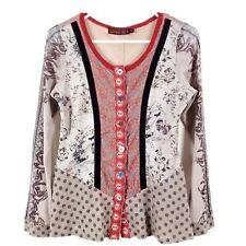 LULU H M Paris Embroidered Button Down Sweater Cardigan Mesh Boho Southwest