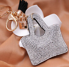 Hot Fashion 700+ Crystals Rhinestones Clear Handbag Charm For Women Keyring Bag