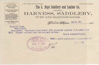 U.S. The L. Hays Saddlery and Leather Co. Wichita 1901 Goods Pd Invoice Rf 40471