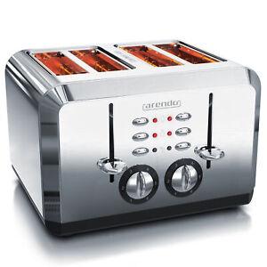 Arendo BREAKFAST 4-Scheiben-Toaster Hochwertiges Edelstahlgehäuse 1600W Vintage