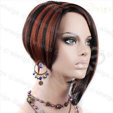 Wiwigs Copper Red Posh Short Asymetric Bob Skin Top Ladies Wig
