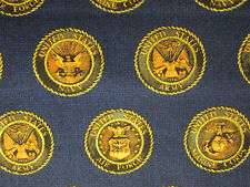 AMERICAN MILITARY ARMY NAVY AIR FORCE BADGES GOLD SEAL BLUE COTTON FABRIC FQ