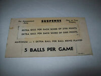 SUSPENSE By WILLIAMS 1969 ORIGINAL PINBALL MACHINE INSTRUCTION SCORE CARD