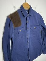 Polo Ralph Lauren Small Blue Shirt Hunting Western VTG RRL Leather Patch Country