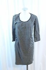 Mama Licious Black & Brown Striped Knit 3/4 Sleeve Casual Dress Size L Maternity