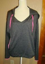 NWT Womens 3X Gray Hooded ATHLETEX Black Gray Pullover Performance Stay Cool Top