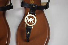 NIB MICHAEL KORS Size 7 Womens Black Saddle Leather Lined SONDRA THONG MK Sandal