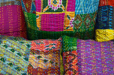 Vintage Kantha Cushion Cover Floral Lot of 5 PC Pillow Case Patchwork Throw 16""