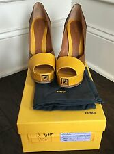 Fendi Fendista Yellow & Brown Platform Pumps Size 39.5