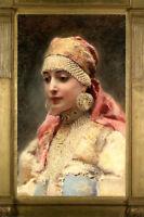 WOMAN ART ~ RUSSIAN BOYARYNYA in traditional costume headdress Modern postcard