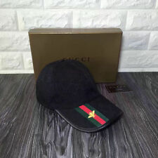 GUCCI BLACK HAT MEN'S/WOMEN CANVAS BASEBALL CAP ADJUSTABLE SIZE M