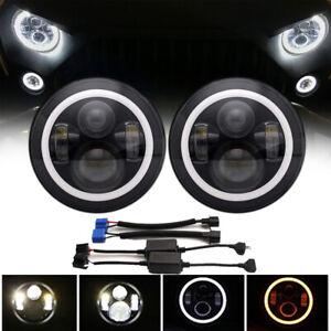 Pair 7Inch Round 120W LED Headlights Hi/Lo 97-18 For JEEP JK TJ LJ Wrangler