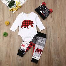 NEW Buffalo Plaid Baby Bear Boys Bodysuit Pants Hat Outfit Set