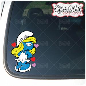 Smurfette with Hearts Vinyl Decal Sticker