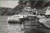 Vintage Wisconsin WI Postcard Passenger Boat Dells Tour Land and Water RPPC