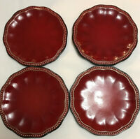 Set of 4 ROSCHER Hobnail Red Cereal/Soup/Salad Bowls