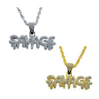 Ice City Mens SAVAGE with CZ Bling Dripping Letters Pendant Chain Necklace
