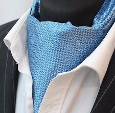 Cravat Ascot Blue Patterned Cravat with matching hanky.