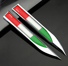 2pcs Auto Car Metal Knife Badge Emblem Decal Sticker For Italy Italia Flag NEW