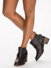 £160 NEW KG KURT GEIGER SIENNA BROWN LEATHER SHORT ANKLE RIDING BOOTS 8 10 41