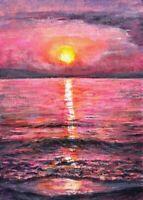 Sunset sea beach purple aceo landscape original painting art acrylic sign card